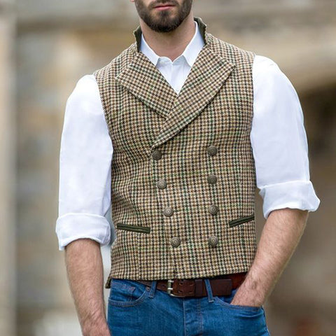 Classic Plaid Double Breasted Vest