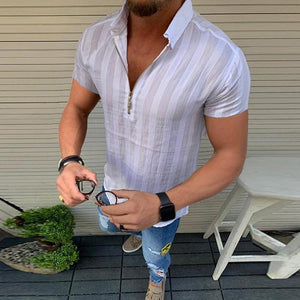 Casual Lapel Zip-Up T-Shirt