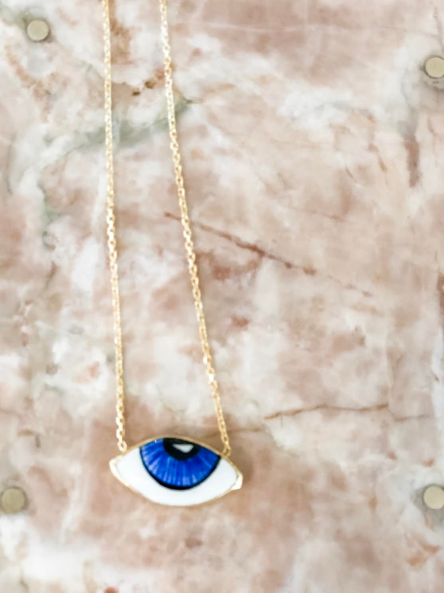 Painted Ceramic Evil Eye Necklace