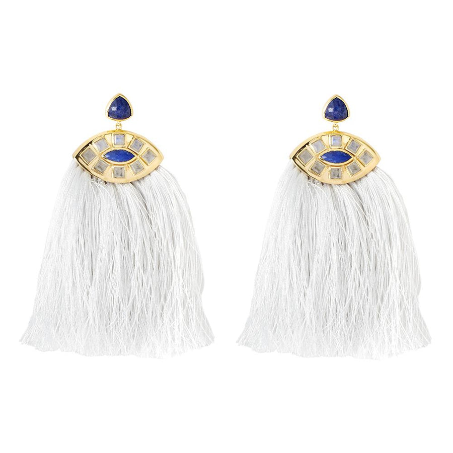 Zelda Moonstone/Lapis Earrings