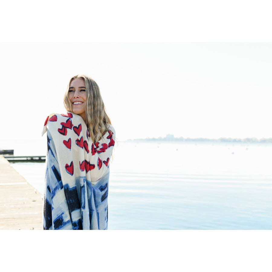 Red, White + True Cashmere Blanket