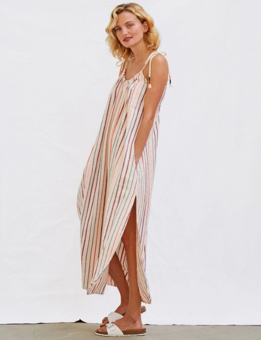 Stripes Tie Maxi Dress