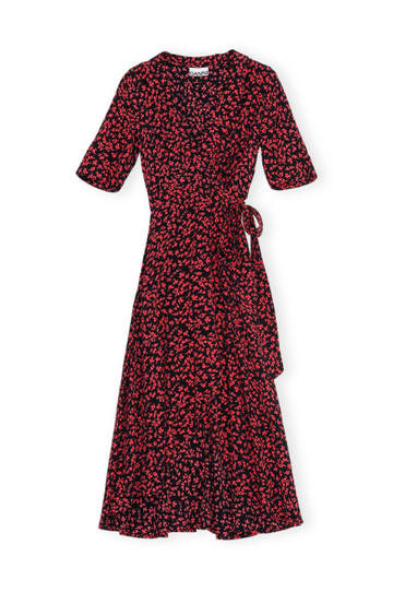 Printed Crepe Wrap Dress