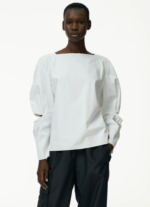 Poplin Split Sleeve Top