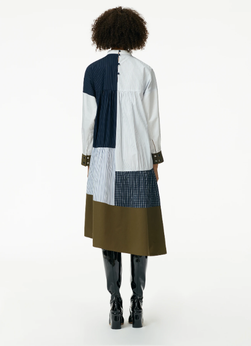 Patchwork Shirred Panel Dress