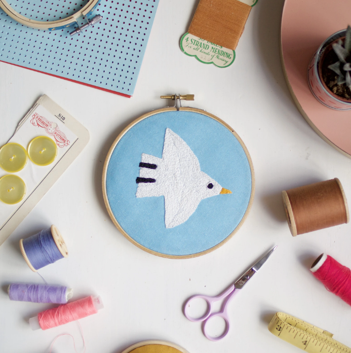 White Bird Embroidery Kit