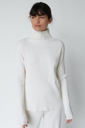 Ribbed Funnel Neck