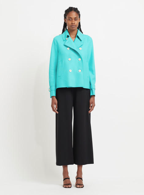 Cropped Light Wool Trench