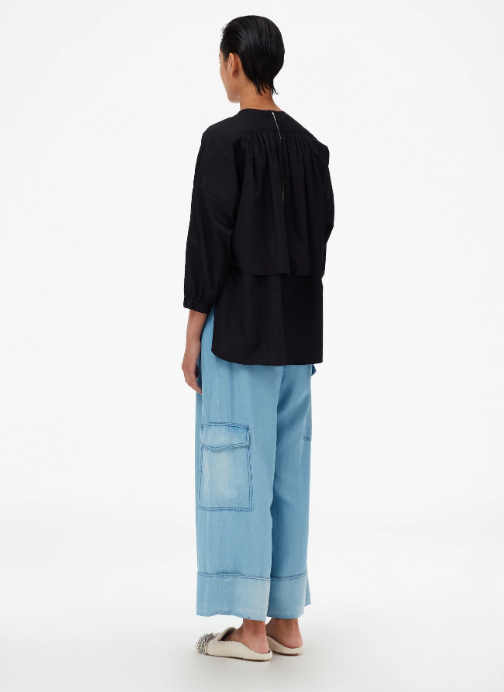 Denim Pleated Cargo Pant