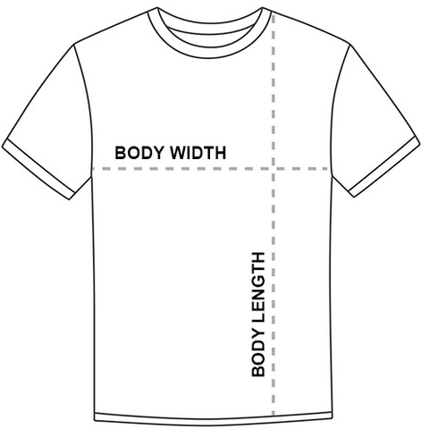 Size chart measuring body width and body length