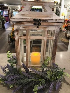 Medium Rustic Lantern with Candle