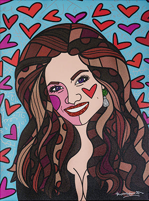 Romero Britto portrait of Orianne Collins