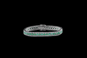 OC Forever 18K White Gold Bracelet with Emeralds and White Diamonds