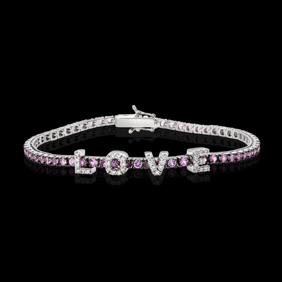 OC Forever 18K White Gold Personalized Tennis Bracelet In Pink Sapphires with LOVE In Diamonds