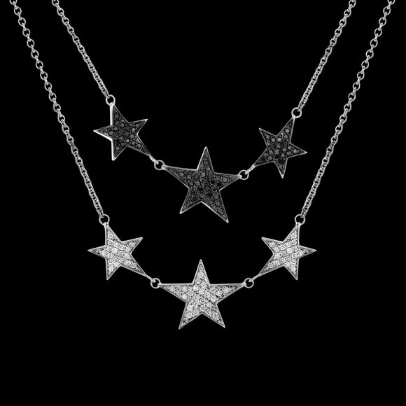 OC Symbols 18K White Gold Necklace with 3 Diamond Stars (White or Black Diamonds)