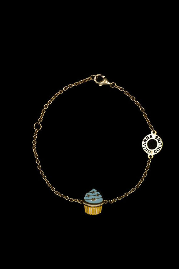 OC KIDS 18K YELLOW GOLD WITH ENAMEL CUPCAKE BRACELET
