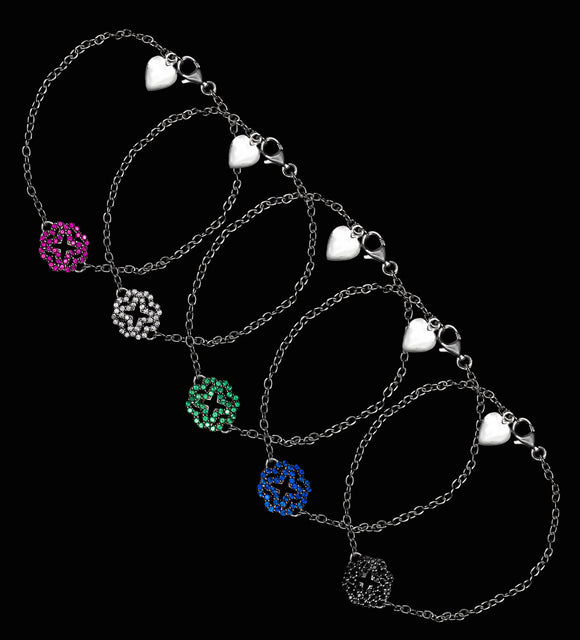 OC Silver Arabesque Bracelets with MultiColor Cubic Zirconias