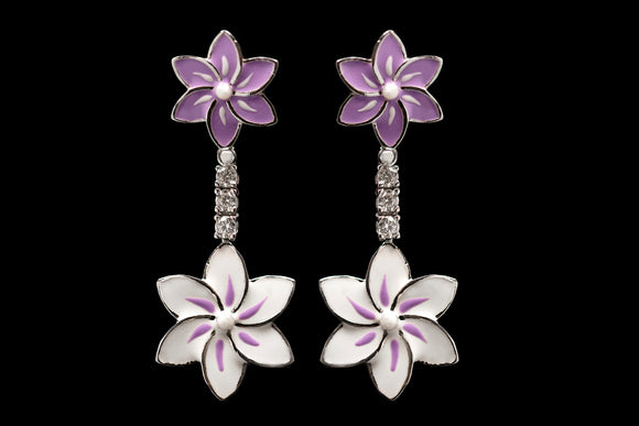 OC Silver Enamel Floral Drop Earrings with Cubic Zirconia