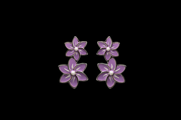 OC Silver Enamel Double Floral Earrings