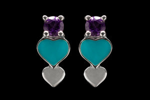 OC Silver Enamel Heart Earrings with Purple Amethyst