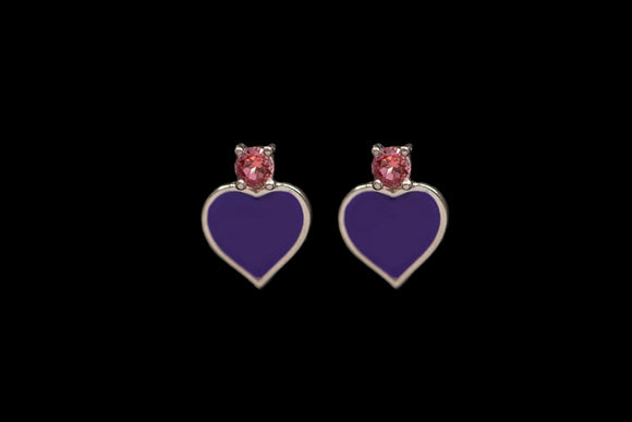 OC Silver Purple Heart Earrings with Pink Topaz