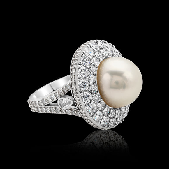 OC Pearls 18K White Gold Ring with White Pearl and White Diamonds