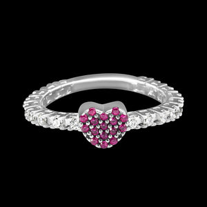 OC Silver Rodium Plated Pink Heart Ring