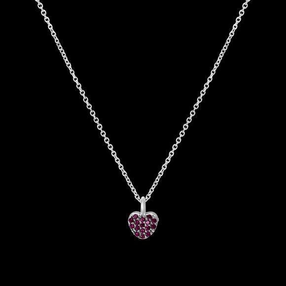 OC Silver Rodium Plated Pink Heart Necklace with Cubic Zirconia