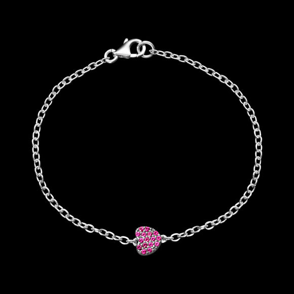 OC Silver Rodium Plated Pink Heart Bracelet with Cubic Zirconia