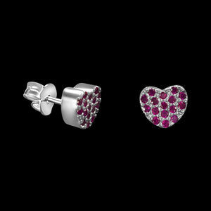 OC Silver Rodium Plated Pink Heart Earrings with Cubic Zirconia