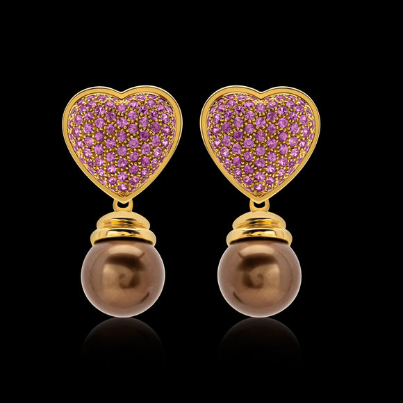 OC Romance 18K Yellow Gold Heart Earrings with Pink Sapphires and Brown Pearl