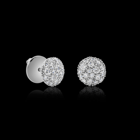 OC Symbols 18K White Gold Button Earrings with White Diamonds