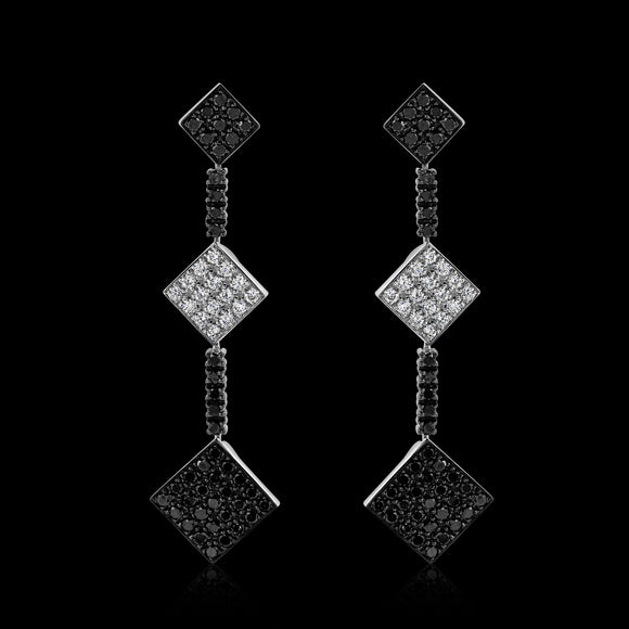 OC Forever 18K White Gold Charmante Earring with Black and White Diamonds