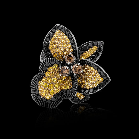 OC Wonders 18K White Gold Orchid Ring with Yellow Sapphires and Black and Brown Diamonds