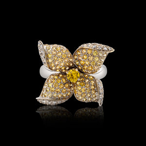 OC Wonders 18K White Gold Orchid Ring with Yellow Sapphires and White Diamonds