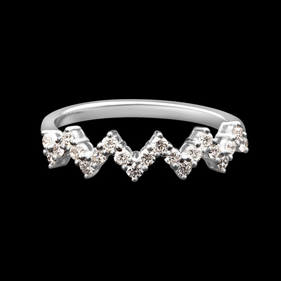 OC Slav 18K Gold Ring with White Diamond Zigzag