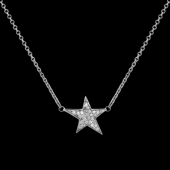 OC Symbols 18K White Gold Necklace with 1 White Diamond Star