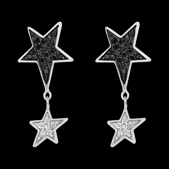 OC Symbols 18K White Gold Double Star Earring with Diamonds (ONLY ONE)