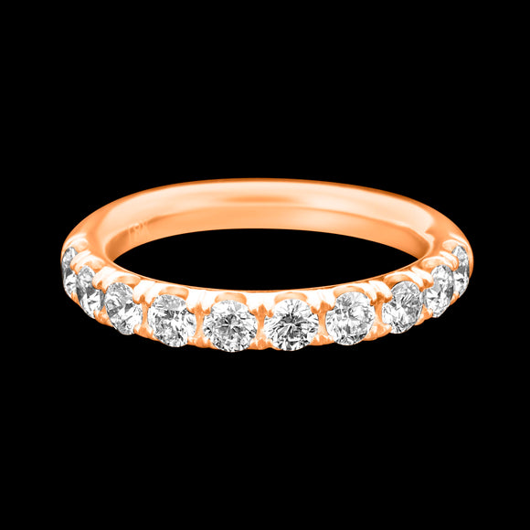 OC Slav 18K Rose or Yellow Gold Ring with 10 White Diamonds