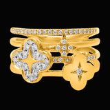 OC Wonders 18K Gold Ring with 2 Lines and 2 Wonder Flowers with White Diamonds