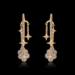 OC Wonders 18K Rose Gold Earrings with 2 Wonder Flowers and 2 Stars with a Detachable Back