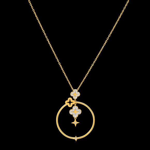 OC Wonders 18K Yellow Gold Circle Necklace with 3 Wonder Flowers and a Star