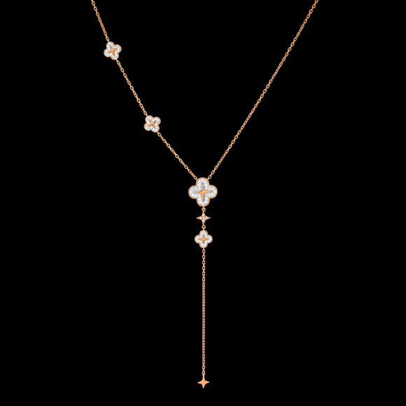 OC Wonders 18K Rose Gold Long Necklace with 4 Wonder Flowers and 2 Little Stars