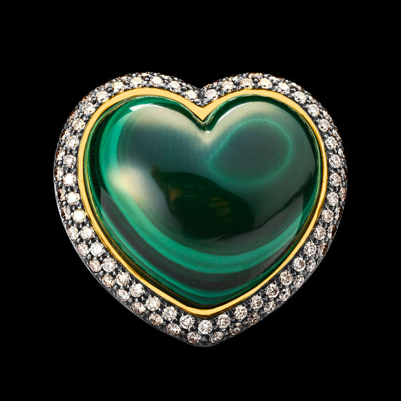 OC Romance 18K Yellow Gold with Malachite and Brown Diamonds