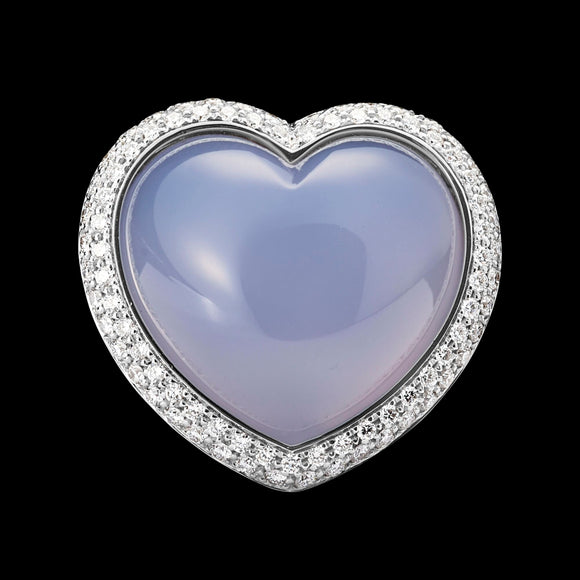 OC ROMANCE 18K WHITE GOLD RING WITH BLUE CHALCEDONY AND WHITE DIAMONDS