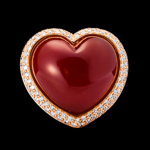 OC ROMANCE 18K ROSE GOLD RING WITH RED CORNELIAN AND WHITE DIAMONDS