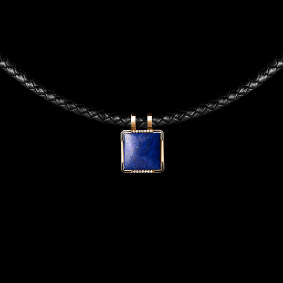 OC Men's 18K Yellow Gold Leather Necklace with Lapis Lazuli and Diamonds