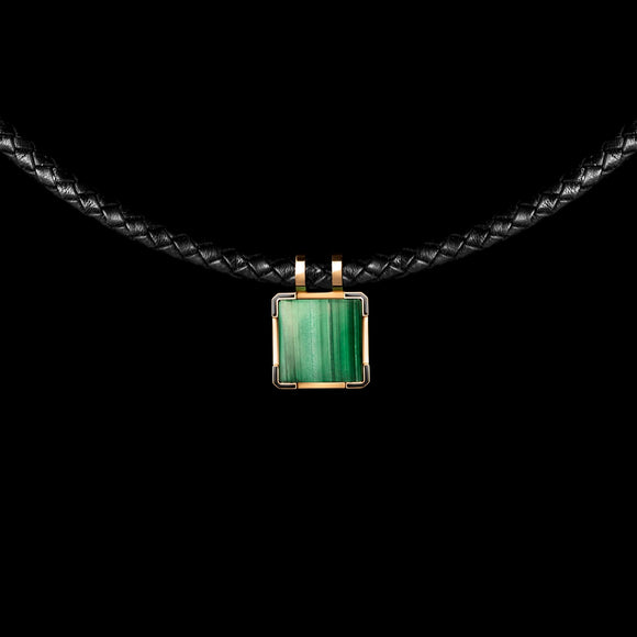 OC Men's 18K Yellow Gold Leather Necklace with Malachite and Diamonds