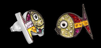 Romero Britto Collaboration Mr. & Mrs. Fish Earrings in Silver with Enamel and Swarovski Crystals