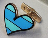Romero Britto Collaboration Striped Heart Cufflinks in 18K White Gold with Enamel Details
